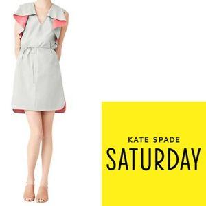 Kate Spade Saturday V-Neck Ruffle Dress 2 Grey NWT